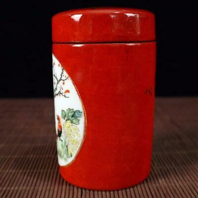 Chinese old Handmade painting red flowers and birds porcelain Tea caddy pot 2