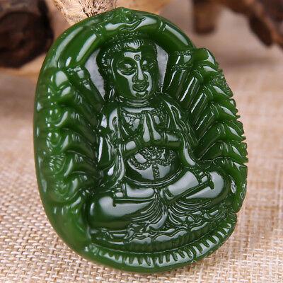 China 100% natural Nephrite hetian jade Thousands Hands Guanyin green pendant 2