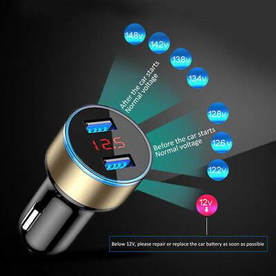 Dual Ports 3.1A USB Car Cigarette Charger Lighter Digital LED Voltmeter 12V/24V 3