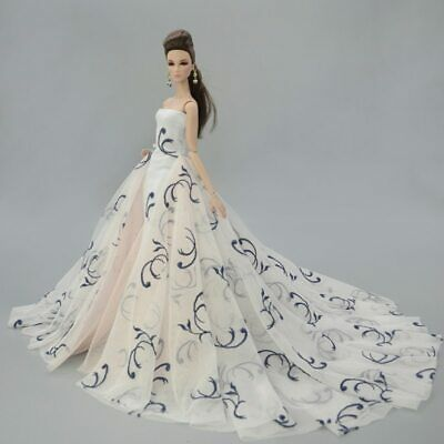Colorful Floral High Fashion Doll Clothes for 1/6 Doll Wedding Dress Party Gown 7