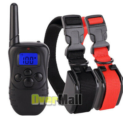 Waterproof 1000 Yard 2 Dog Shock Training Collar Pet Trainer With Remote 4 Modes 10