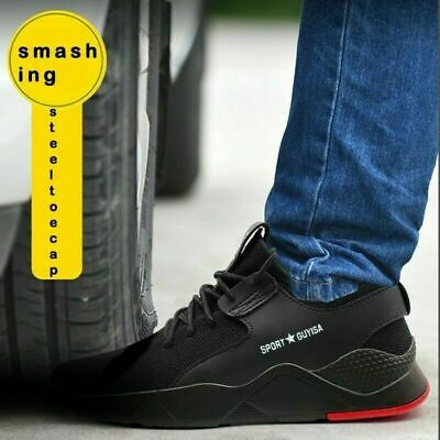UK Mens Safety Shoes Trainers Steel Toe Work Boots Sports Hiking Shoes Sneakers 4