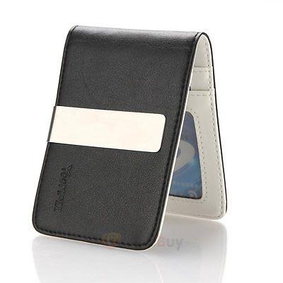 Mens Genuine Leather Silver Money Clip Slim Wallets Black ID Credit Card Holder Men's Accessories