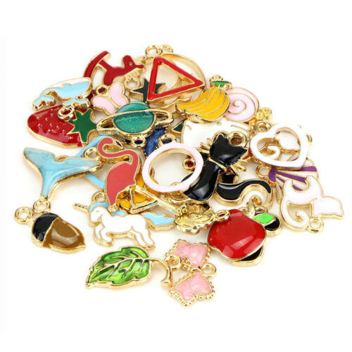 30PCS Mixed Enamel Beads Pendants Charms Craft DIY Jewelry Findings S! 4