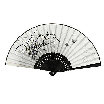 Japanese Chinese Hand Fan Folding Silk Bamboo Retro Printing Wedding Party Gift 5
