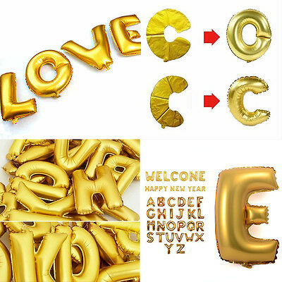 8 Of 9 Gold Alphabet Letters Balloons Happy Birthday Party Decoration Aluminum Foil