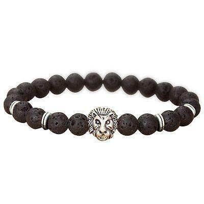 Men Fashion Black Lava Stone Gold&Silver Lion Beaded Cuff Charm Bangle Bracelet 4