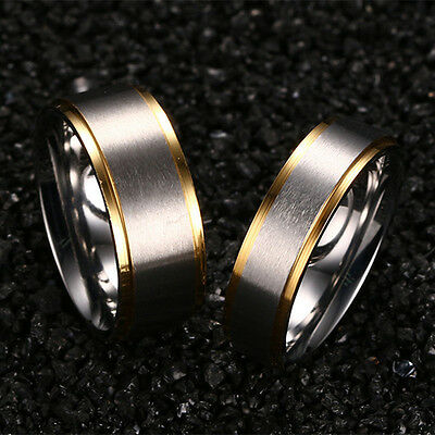 316L Stainless Steel Silver Brushed Gold Plating Bands Men Women's Couple Rings 6