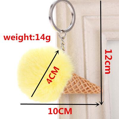 1PC Pendant Imitation Hairball Keychain Ice Cream Cute Fashion Bag Keyring 2