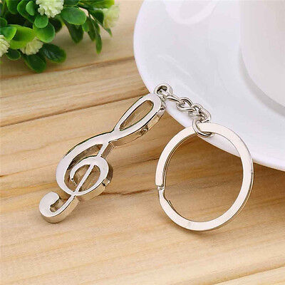 Creative Stainless Steel Silver Music Symbol Keychain Ring Keyring Key Fob Gift 5