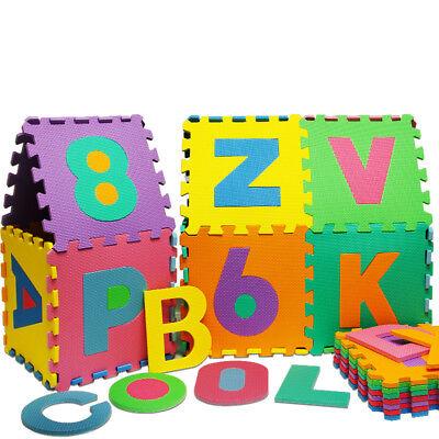 Puzzle tapis mousse 86 pièces Alphabet et chiffres 32x32 cm Tapis de jeu enfants 6