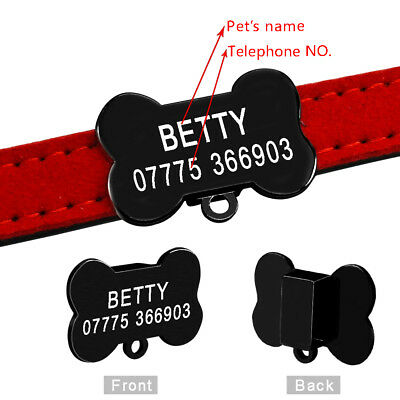 Personalized Cat Dog Collar Bone Shape Black Tags Engraved Name Phone with Bell 3