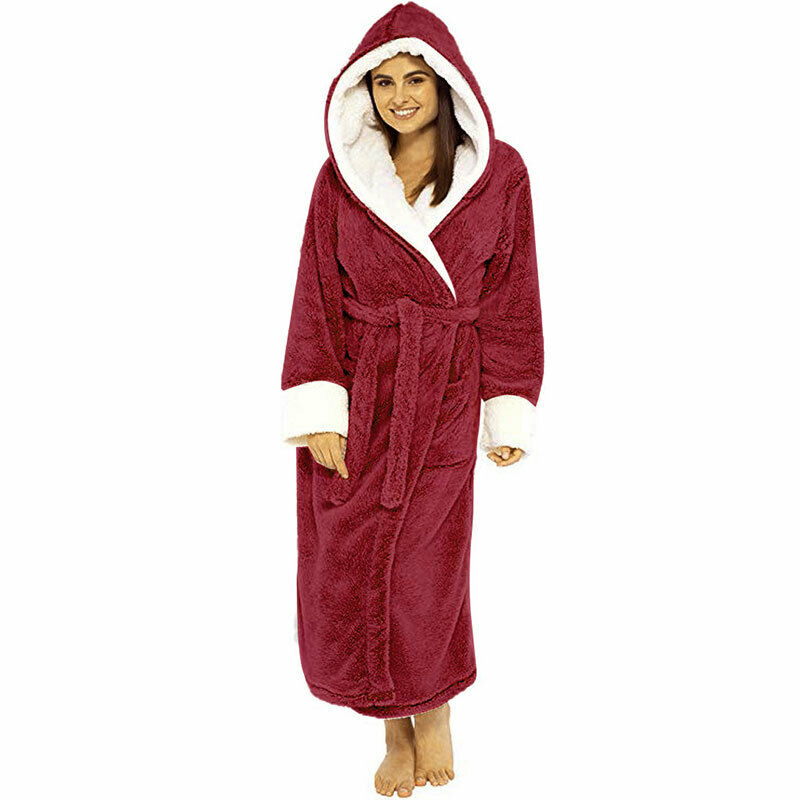 Women Dressing Gown Hoodie Nightwear Fluffy Soft Warm Winter Hooded Bath Robe 10