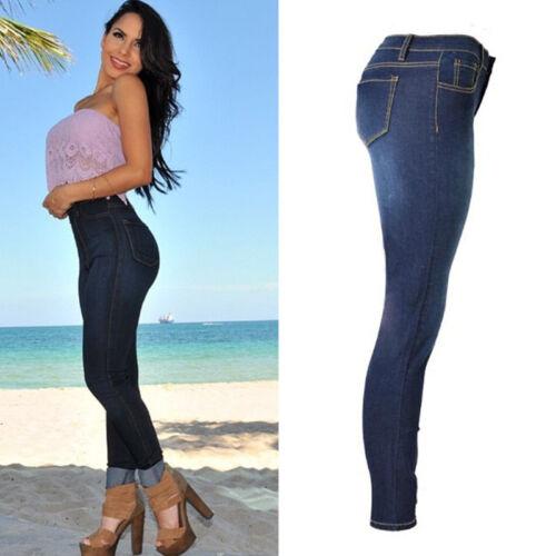 Damen High Waist Jeanshose Stretch Skinny Jeans Treggings Jeggings Denim Hosen 4