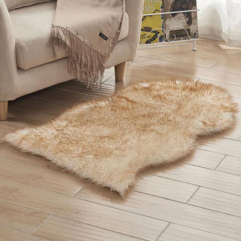 Soft Sheepskin Fluffy Skin Faux Fur Fake Carpets Washable
