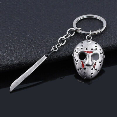 Friday the 13th Jason Voorhees Hockey Mask Kinfe Keychain Metal Keyring Jewelry 4