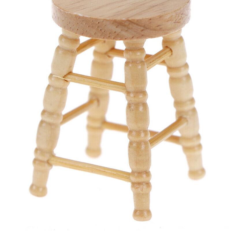 1/12 Dollhouse miniature wooden stool chair furniture accessories.decoration BF 8
