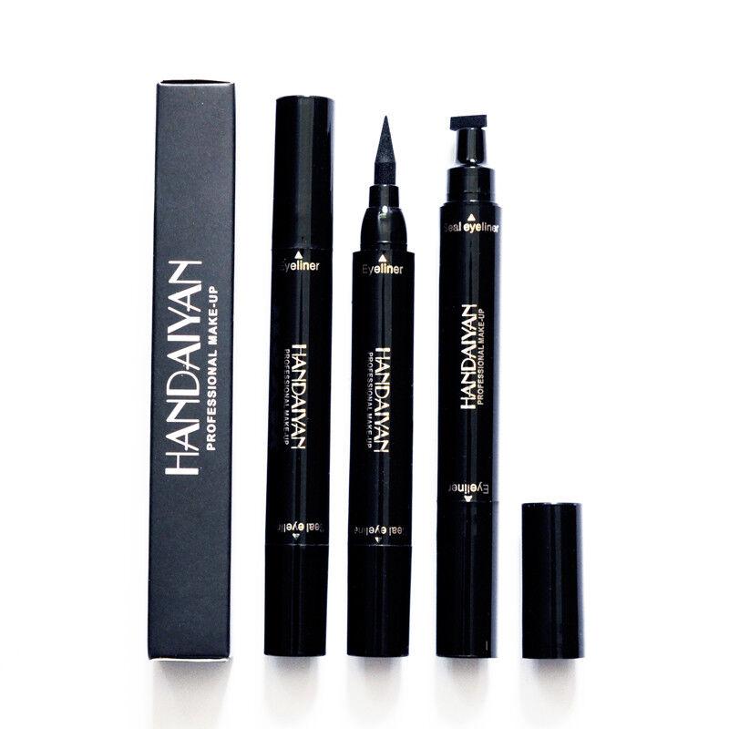 Dual-ended Liquid Eyeliner Black Pen with Stamp Seal Waterproof Eye Makeup Tools 10