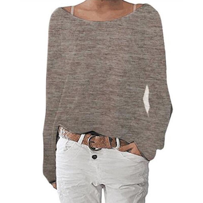 Women's Plain Long Sleeve T-Shirt Blouse Ladies Casual Loose Tops Shirts Tee UK 9