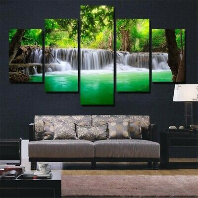 5 Panel Waterfall Canvas Print Painting Art Wall Picture Home Decor Unframed s 2