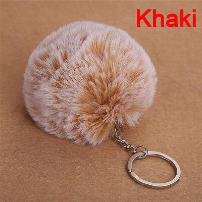 NEW 2017 Faux Rabbit Fur Pom-pom Key Chain Bag Charm Fluffy Puff Ball KeyRing ZY