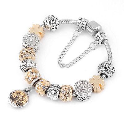 Women's European Charm Bracelet Silver Plated Crystal Charms Cuff Bangle 20CM 2