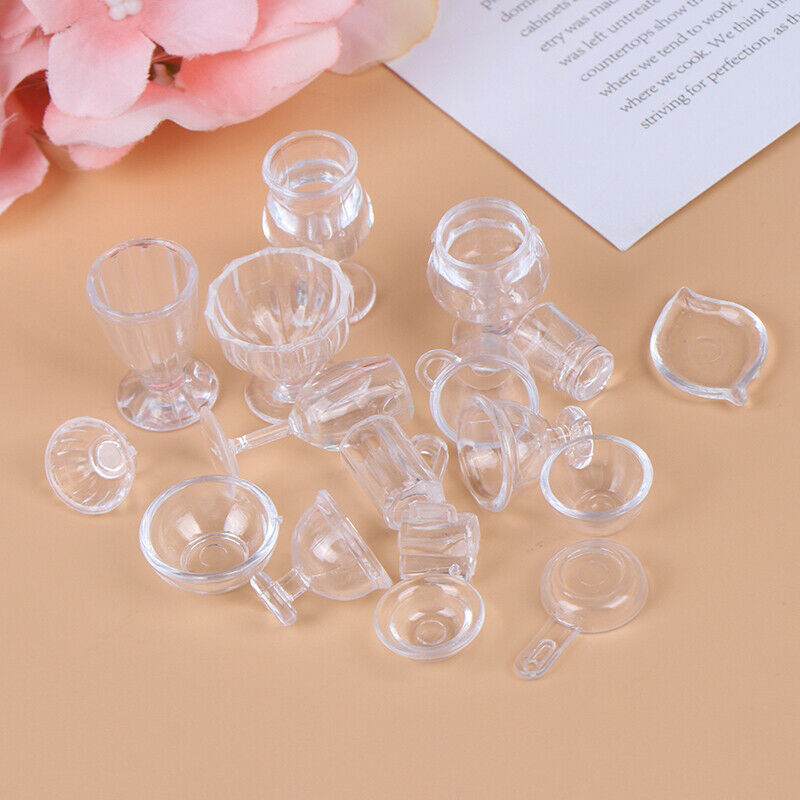 17Pcs/Set 1:12 Dollhouse Miniature Transparent Tableware DIY Pretend Play T IO 8