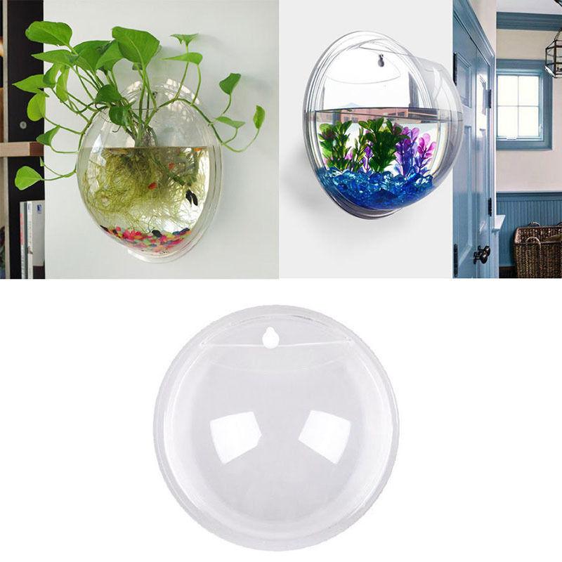 acrylic wall mount hanging fish bowl aquarium tank beta goldfish hanger plantnew. Black Bedroom Furniture Sets. Home Design Ideas