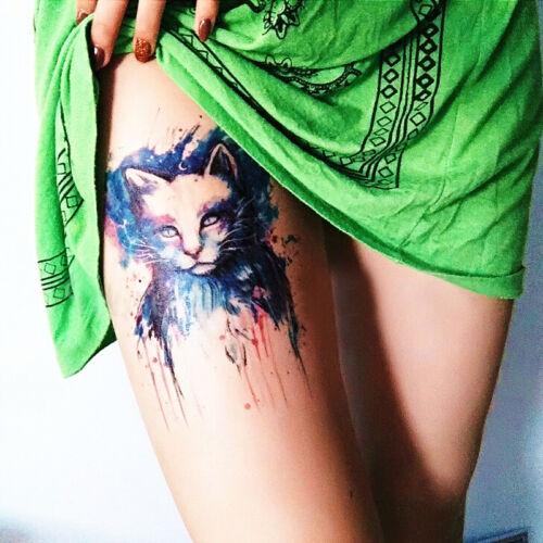 Frauen Wasserdichte Kühle Bunte Katze Arm Bein Haut Tattoo Aufkleber