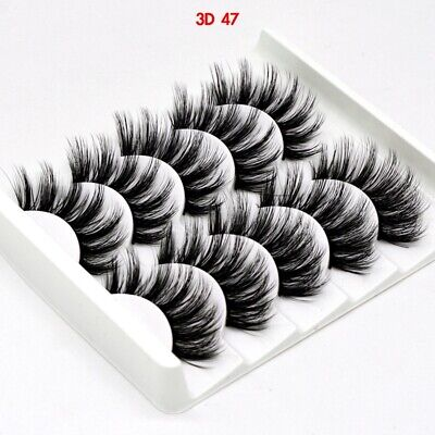 UK 5 Pairs 3D Fake Eyelashes Long Thick Natural False Eye Lashes Set Mink Makeup 5