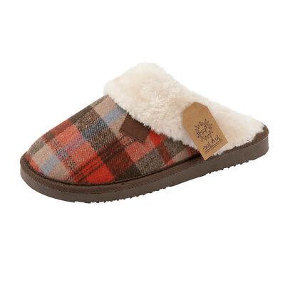 Ladies Women Hard Sole Tartan Fur Lined Slip On Mule Winter Warm Slippers Shoes