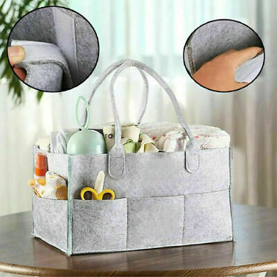 Baby Diaper Organizer Caddy Felt Changing Nappy Kids Storage Carrier Bag Grey 2