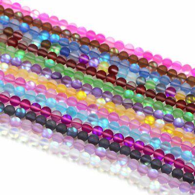 Wholesale Mystic Aura Quartz Gemstone Loose Beads Holographic Matte Bracelet 6mm 8