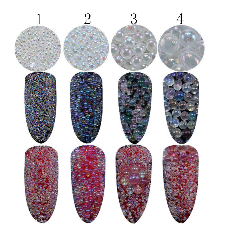 Mini Bubble Beads Clear 3D Nail Art Decoration Manicure 1-2mm Mixed Colorful DIY 2
