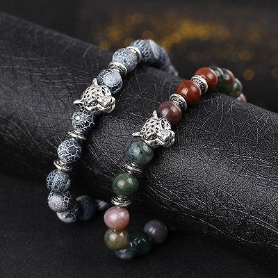 Men Fashion Black Lava Stone Gold&Silver Lion Beaded Cuff Charm Bangle Bracelet 9