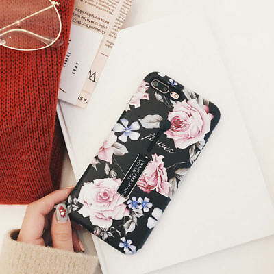 For iPhone X 8 7 6S Plus Retro Rose Flower Ring Holder Kickstand Hard Case Cover 8