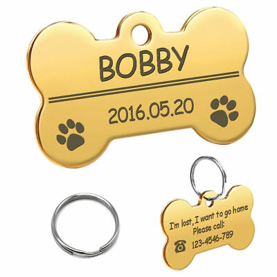 Bone Shape Custom Personalized Engraved Dog Tag Pet Cat Name ID Tag Phone Tag 6
