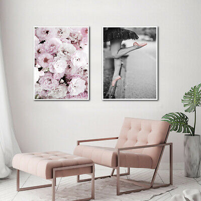 Pink Rose Flower Angel Poster Nordic Wall Art Canvas Print Decoration Picture 4