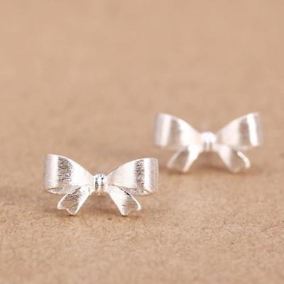 Girls Women 925 Sterling Silver Bow Crystal Rhinestone Ear Stud Vintage Earrings