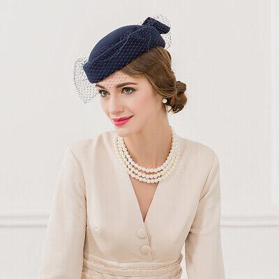 Ladies Felt Wool Fascinator Pillbox Wedding Bridal Beret Hat Headpiece CK013 3
