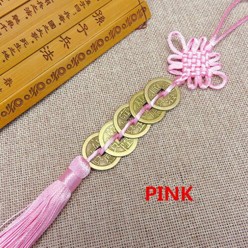 Chinese Feng Shui Protection Lucky Fortune Charm Red Tassel String Tied Coins LH 8