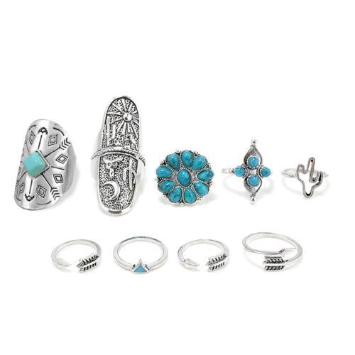 9PCS//Set Vintage Silver Ethnic Ring Women Boho Style Geometry Finger Rings Gift