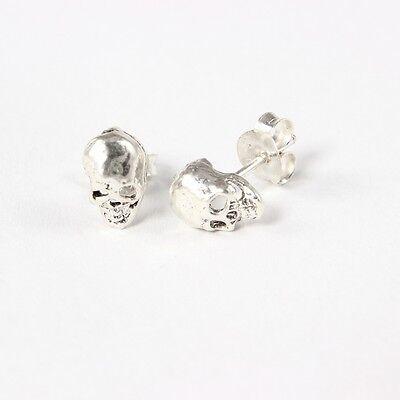 Neu Ohrstecker Totenkopf mit gekreuzten Knochen Echt Silber 925-Silber