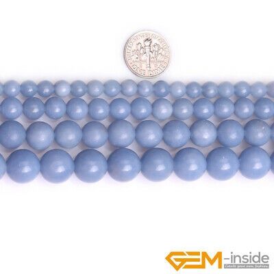 """Natural Blue Angelite Stone Round Loose Beads for Jewelry 15"""" 6mm 8mm 10mm 12mm 2"""