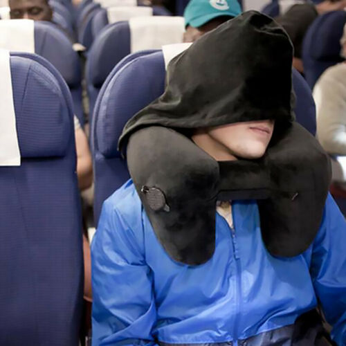 Inflatable Hooded Travel Pillow Head Neck Support Rest Cushion for Air Planes US 3