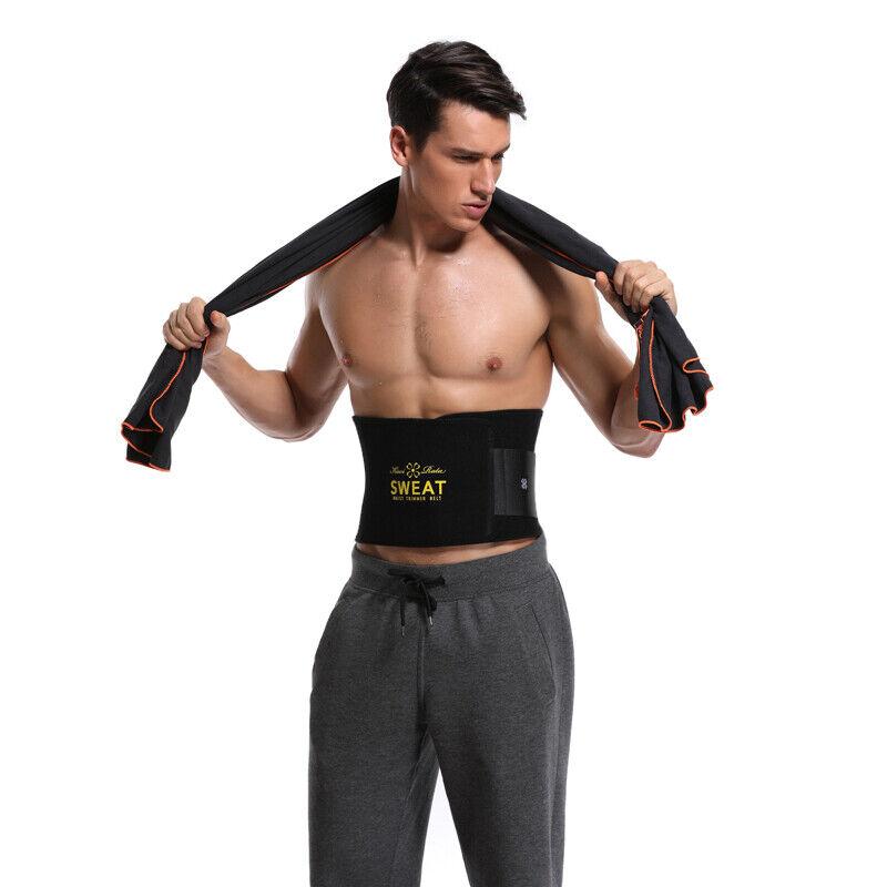 UK Men Women Waist Trimmer Belt Sweat Wrap Tummy Stomach Weight Loss Fat Burner 11
