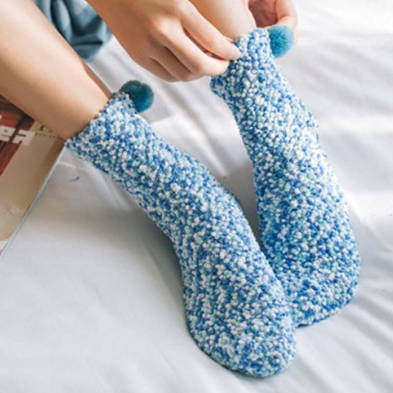 Details about  /Women/'s Girls Cute Cashmere Fuzzy Soft Socks Warm Pom Bobble Socks //Gift