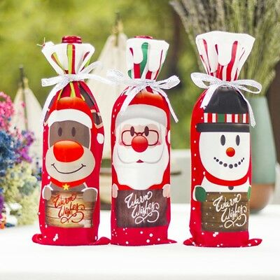 Red Wine Bottle Cover Bags Snowman Santa Claus Christmas Decoration Sequins New 3