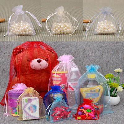 20/50/100X Large Organza Wedding Favour Pouches Gift Bag Net Bags Drawstring AS 4