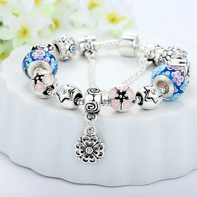 European 925 Silver Charms Bracelet DIY With Flower Bead Women Christmas Jewelry 2